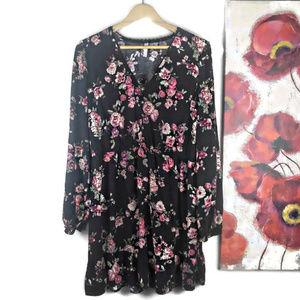 Xhilaration | Black Floral Boho Long Sleeve Dress